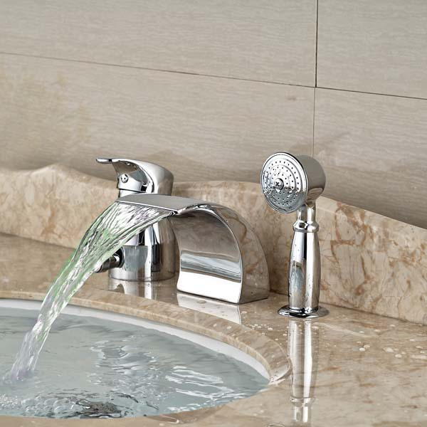 Wholesale And Retail LED Luxury Chrome Brass Roman Waterfall Bathroom Tub Faucet 3 PCS wholdsale and retail luxury brass