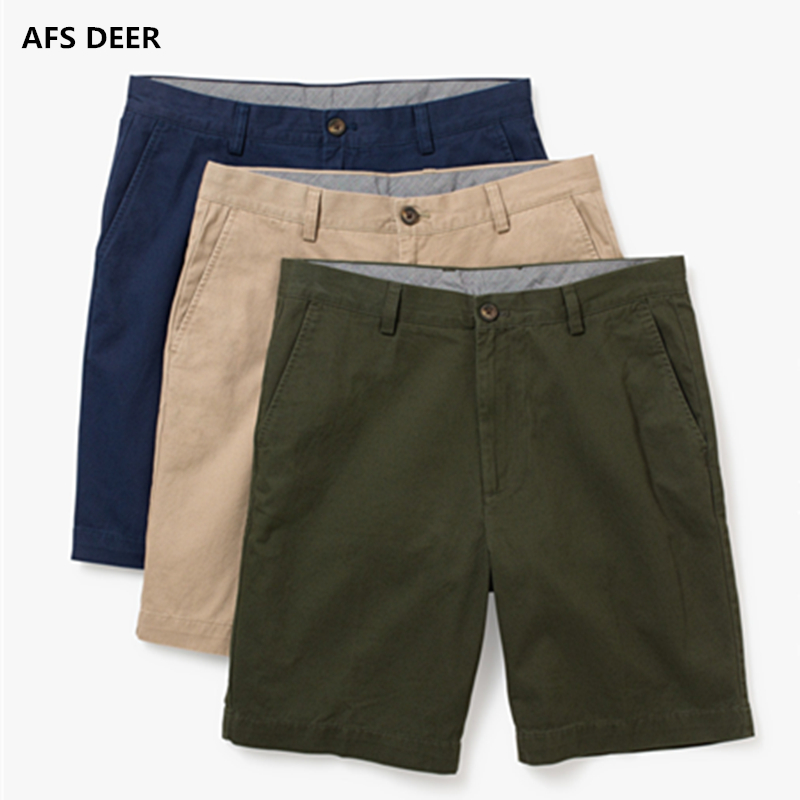 2018 Summer New Casual Shorts Men's Classic Fit Perfect Short Solid 100% Cotton Standard Flat-Front Stretch Chino Beach Short