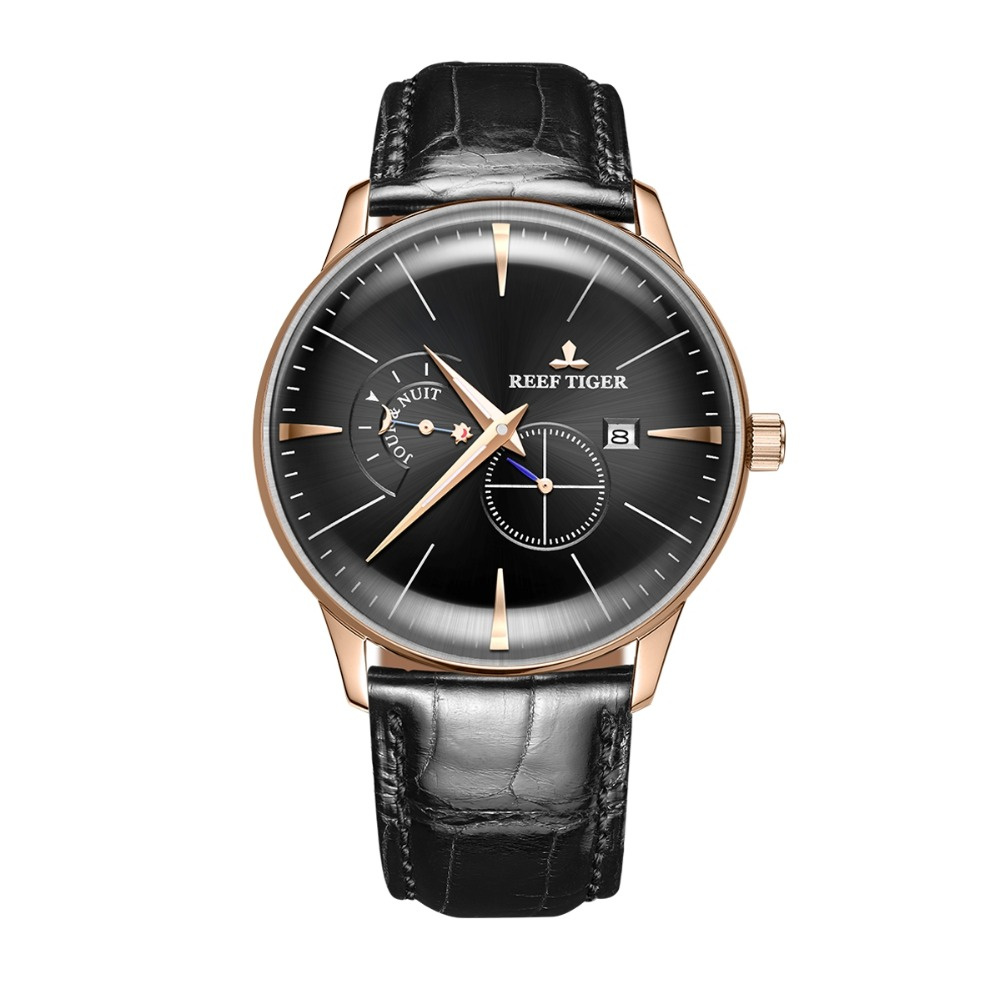 Reef Tiger Classic Serier RGA8219 Men Fashion Business Ultra Thin Case Automatic Mechanical Wrist Watch With Day Night Dial Gold 機械 式 腕時計 スケルトン