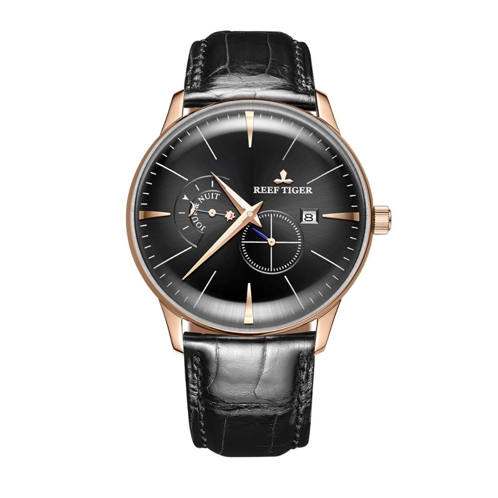 Reef Tiger Classic Serier RGA8219 hombres moda negocio caso Ultra delgado reloj mecánico automático con día noche Dial oro