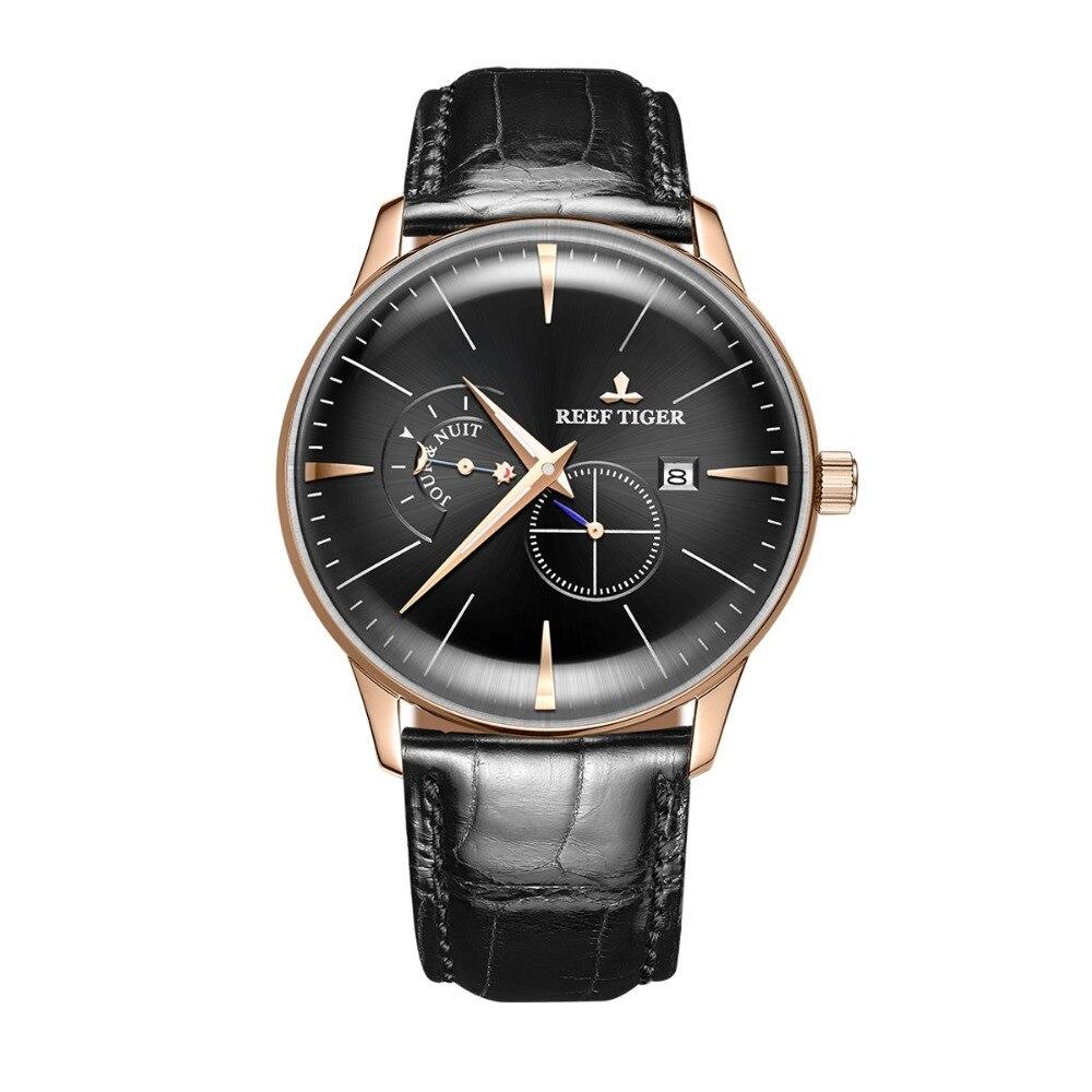 Riff Tiger Klassische Serier RGA8219 Männer Mode Business Ultra Dünne Fall Automatische Mechanische Armbanduhr Mit Tag Nacht Zifferblatt Gold
