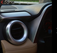 Для Toyota RAV4 RAV 4 2016 2017 ABS Матовый вентиляционное отверстие Выход Обложка отделка кольцо декоративное литье стайлинга автомобилей интерьера аксессуары