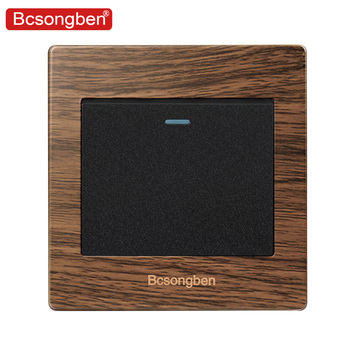 Bcsongben Luxury Push Button Wall Switch 1 Gang 2Way  Light Switch Interruptor Brushed Wood grain Panel 10A AC 110~250V new style european retro push button switch hand made wood wall switch two control two way 6a 110v 250v