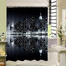 The Dark Night Modern City Scenery That Is Very Bright Waterproof Moldproof Shower Curtain Bathroom