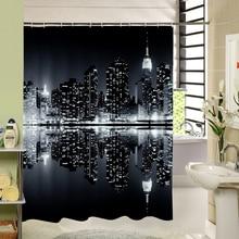 Темная ночь современный городской пейзаж, что очень яркий Водонепроницаемый moldproof душ Шторы Ванная комната Шторы комплект с Крючки