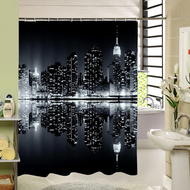 The Dark Night Modern City Scenery That Is Very Bright Waterproof Moldproof Shower Curtain Bathroom Set With Hooks