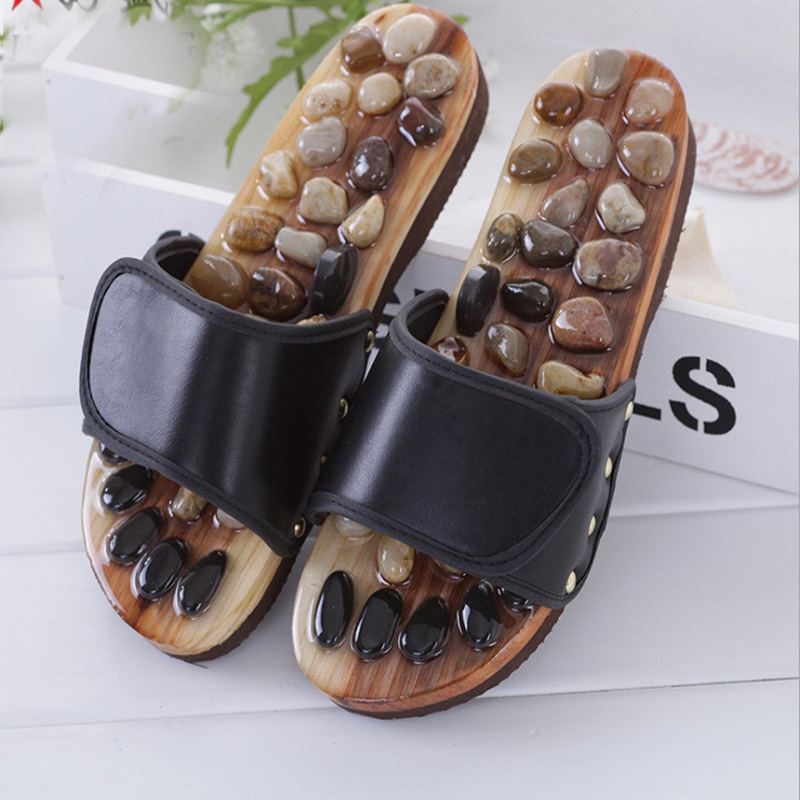 Acupuncture Health Shoes Sandals Slippers Healthy Massager Foot Care Pebble Stone Foot Massage Slippers Reflexology Feet Elderly electric antistress therapy rollers shiatsu kneading foot legs arms massager vibrator foot massage machine foot care device hot