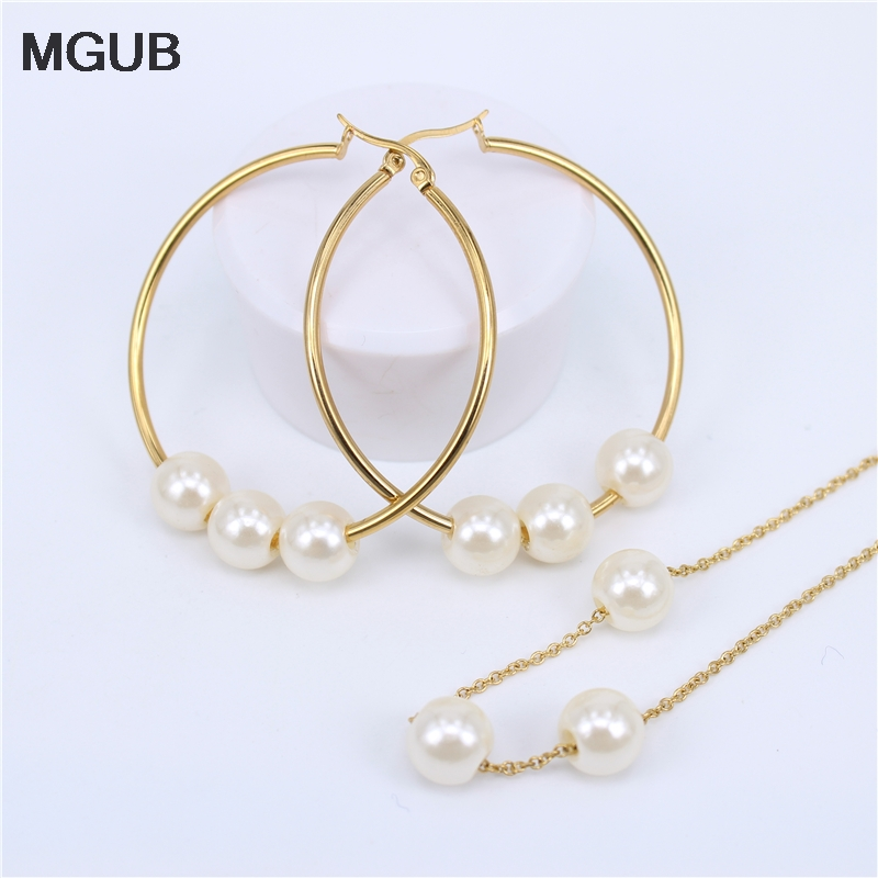 MGUB Gold color 10 kinds of size 30mm-75mm Hoop earring Imitation pearls Pendant chain stainless steel jewelry Set LH469
