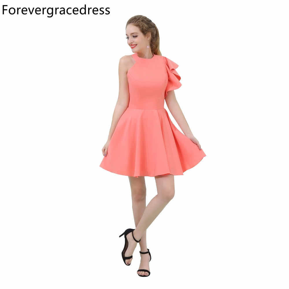 Forevergracedress Real Picture Coral Color   Cocktail     Dress   High Neck Short Backless Homecoming Party Gown Plus Size Custom Made