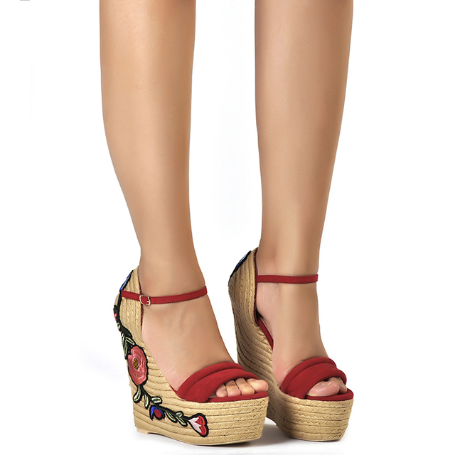 17c55255bc1 ... Embroidered platform shoes espadrille shoes flower applique supper high  heel wedge elegant sandals. Previous