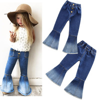 Baby Girl Jeans Trousers 2017 Fashion Casual Elastic Waist Flared Trousers Cowboy Pants Children S Blue