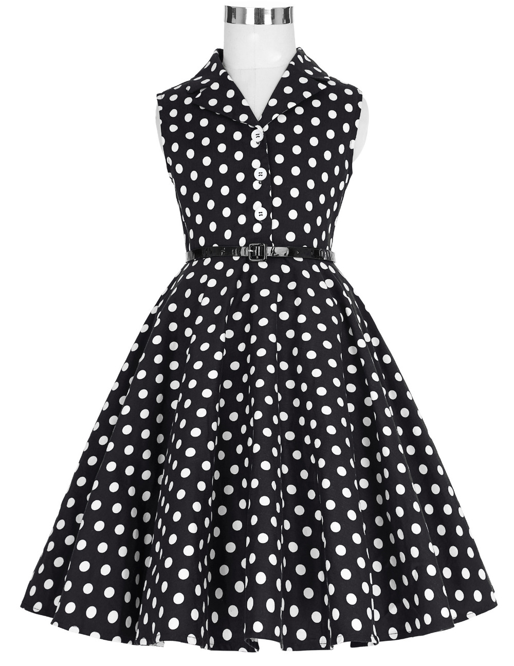 Grace Karin Flower Girl Dresses for Weddings 2017 Sleeveless Polka Dots Printed Vintage Pin Up Style Children's Clothing 5