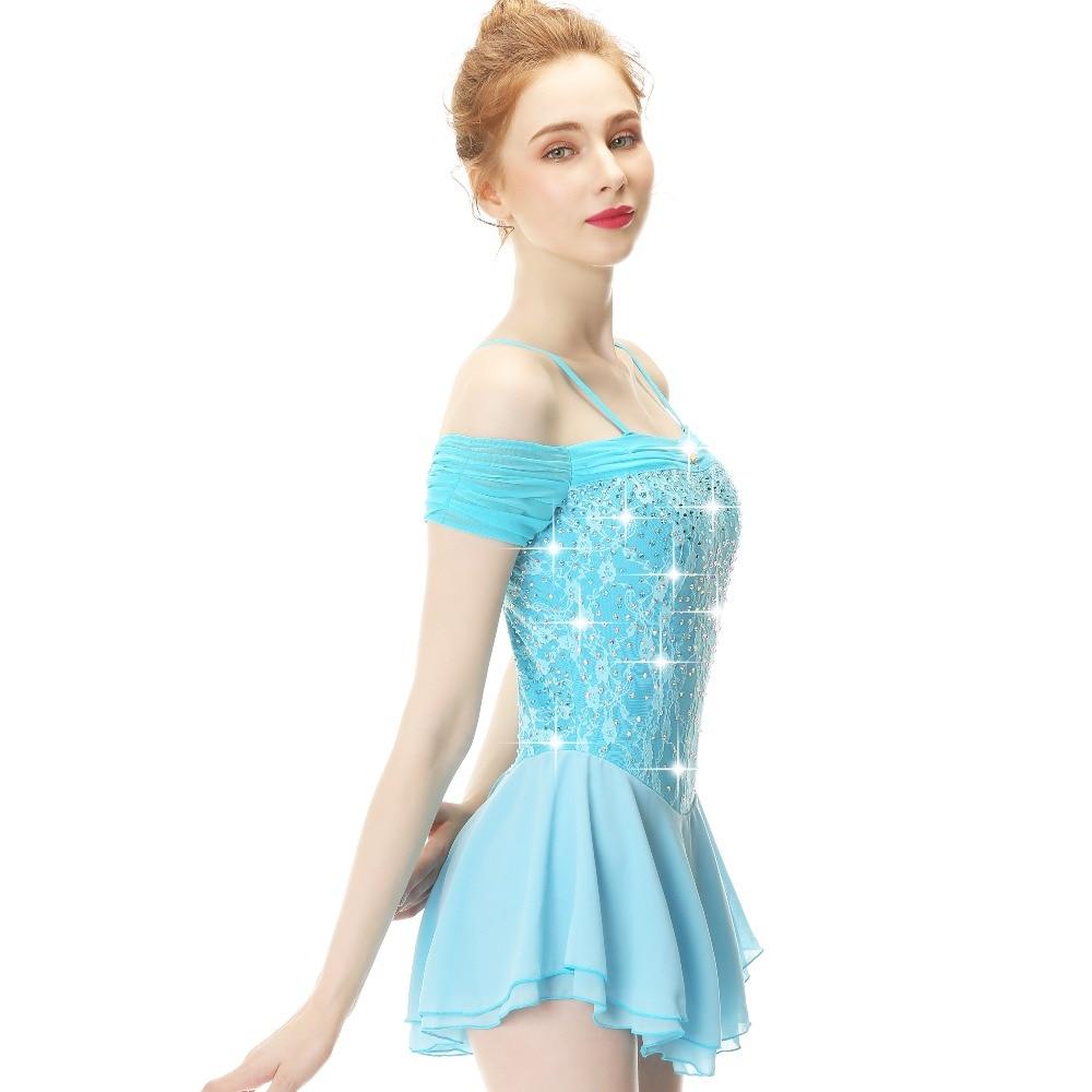 Blue Long Sleeve Crystal Diamond Bow Figure Skating Sress Skating Skirt Lady And Girl