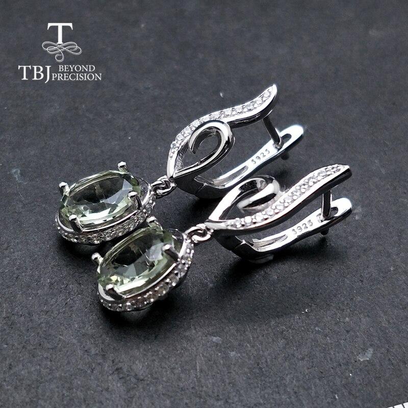 TBJ, natürliche grüne amethyst oval 7*9mm ohrring edelstein 925 sterling silber edlen schmuck einfache design beste Valentine für frau-in Ohrringe aus Schmuck und Accessoires bei  Gruppe 3