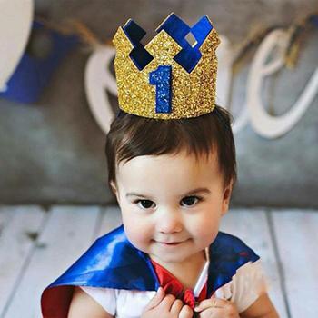 Chłopiec turkusowo-złota pierwsze urodziny kapelusz brokat dziewczyna księżniczka korona numer 1st 2 3 lat strona wystrój Baby Shower pałąk tanie i dobre opinie TOPATY Party Birthday party Baby Birthday Hat Dzieci Cloth