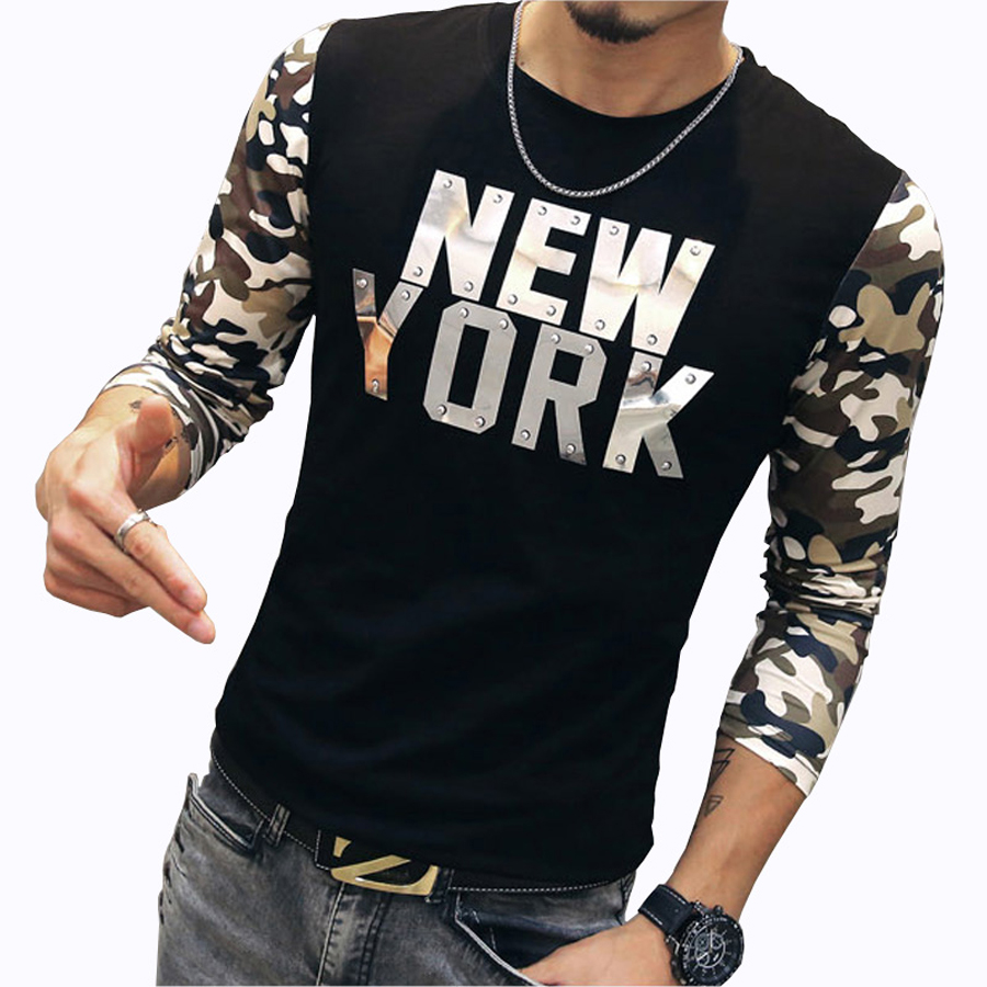 Design a t shirt nyc - Fashion Camouflage Sleeve T Shirts 2016 New Design New York Letter Casual Men T Shirt Hip