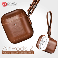 For Apple Airpods 2 Case Top Genuine Leather for Vintage Design Protective Earphone accessories Cover
