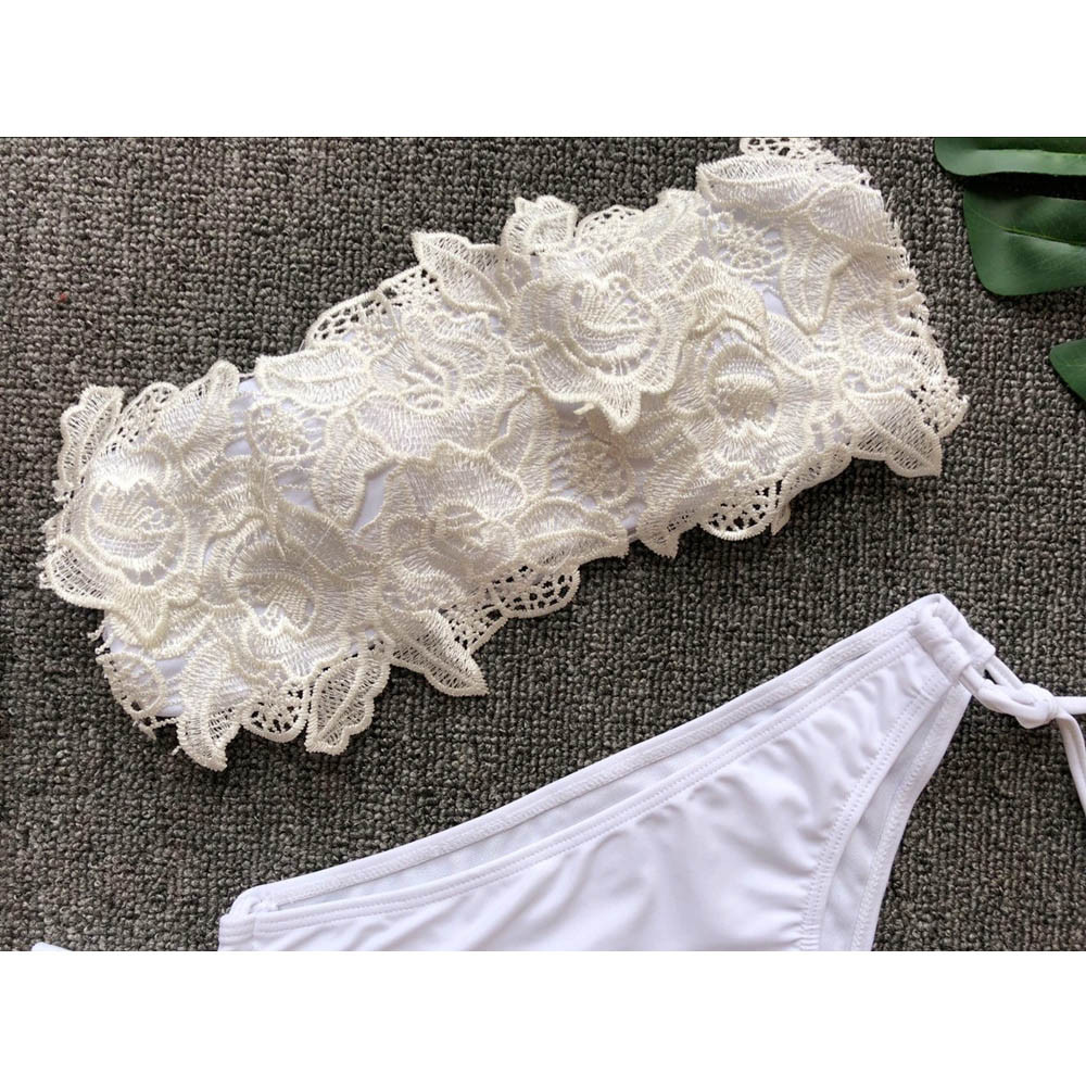 HTB1iUb t4WYBuNjy1zkq6xGGpXa3 - White tube top lace flower split swimsuit  2 piece set women swimming suit Solid color strap flowers beach swimwear Y-NEW