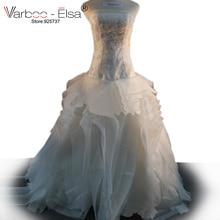 Frete grátis Vera off ombro Fluffy Organza Flor RufflesTop qualidade vestido de noiva plus size Vestido de Casamento Real da amostra 2014