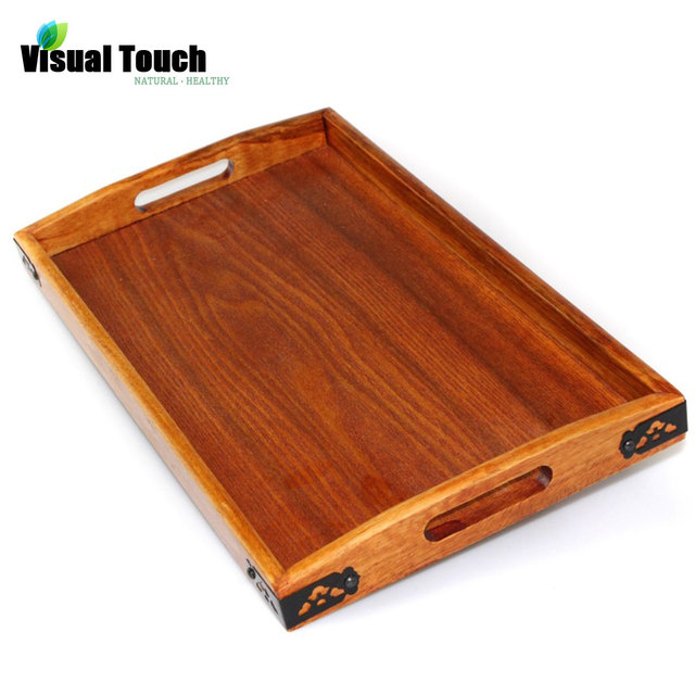 Visual Touch Tanoak Wood Dinning Bread Breakfast Tray Serving Trays For Dessert Cake Cupcake Fruit Large