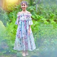 2018 летние детские Обувь для девочек от shoudler вечернее платье Милая модная официальная Вечеринка Халаты платье с цветочным рисунком Age56789 От 10