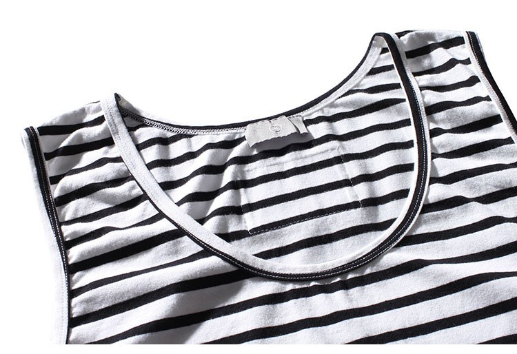 Aolamegs Tank Tops Men Extended Black White Striped Tee Sleeveless T Shirts Homme 2017 Spring Summer Hip Hop Fashion Streetwear (3)