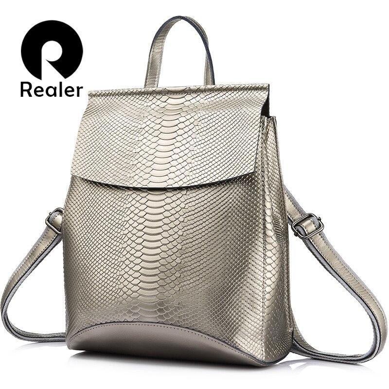 PLUS RÉEL sac à dos femmes sacs à bandoulière voyage sac en cuir en cuir sacs à dos pour l'école de Haute capacité sacs à dos mode messenger