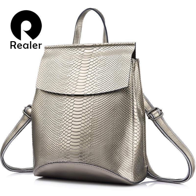 REALER школьный рюкзак для девочек подростков,бренд качественный женский рюкзак из сплит-кожи со змеиным принтом новинка, рюкзак для путешест...