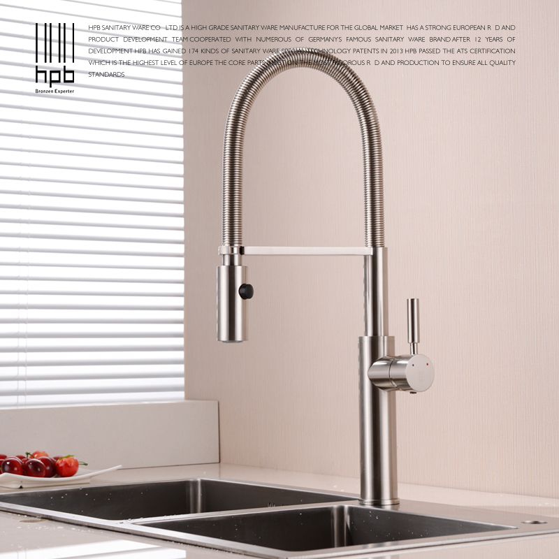 HPB Brass Brushed Chrome Pull Out Rotary Kitchen Faucet Mixer Tap for Sinks Single Handle Deck Mounted Hot And Cold Water HP4105 hpb brass white kitchen mixer rotary sink faucet deck mounted hot and cold water tap pb free torneira cozinha hp4007