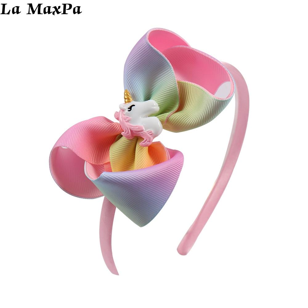 Rainbow Ribbon Hairband Cute Cartoon Horse Accessories Headband For Girls Child Birthday Gift Head Hoop Hair Accessories