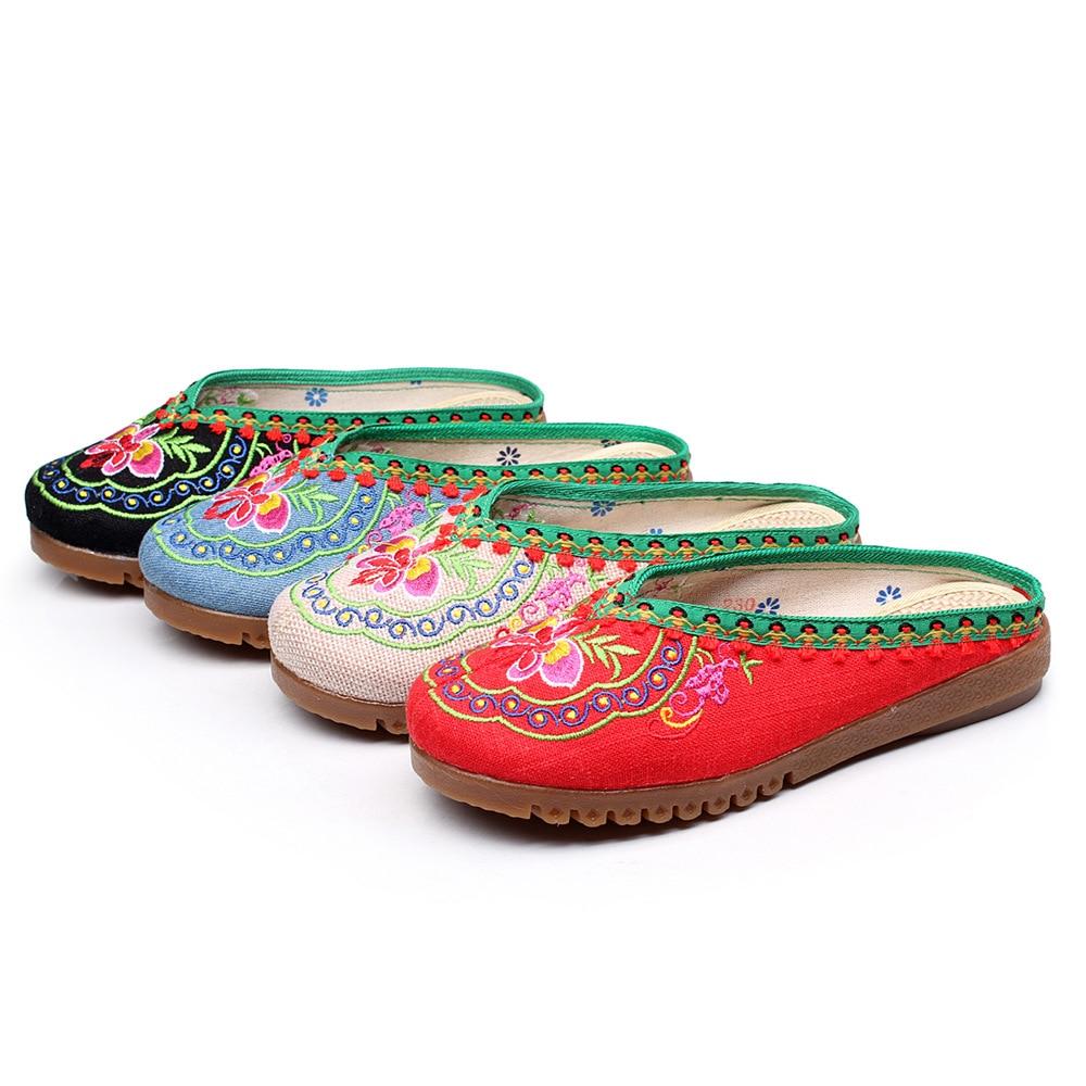 Nouveau Pantoufles Chaussures Taille Occasionnels La rouge Femmes Broderie Doux Mujer Plus 41 Beige Pékin Femelle Mode Vieux Charme noir D'été Design Arrivée Maison 6gfb7y