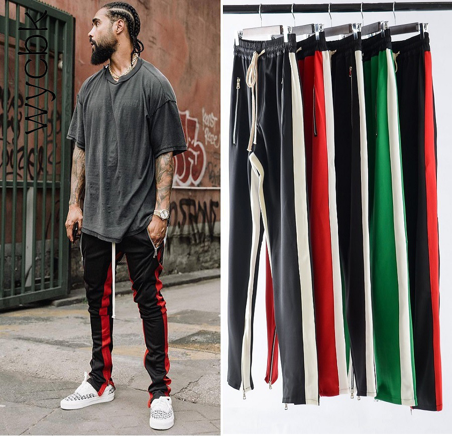 7 Colors Zipped Ankle Track Pants Waist Banding Panelled Side Stripe Zip Pockets Color Contrast Retro Trousers