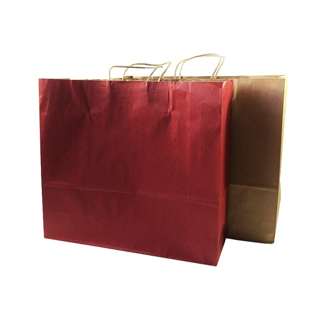 10 pcs lot multifuntion kraft paper bags with handle 2 color optional gift party holiday