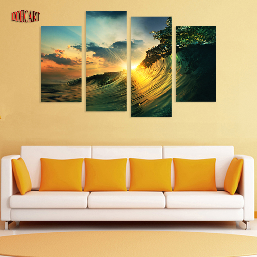 4 Piece Waves Sunset Seaview Picture Painting on Canvas for Wall Art ...