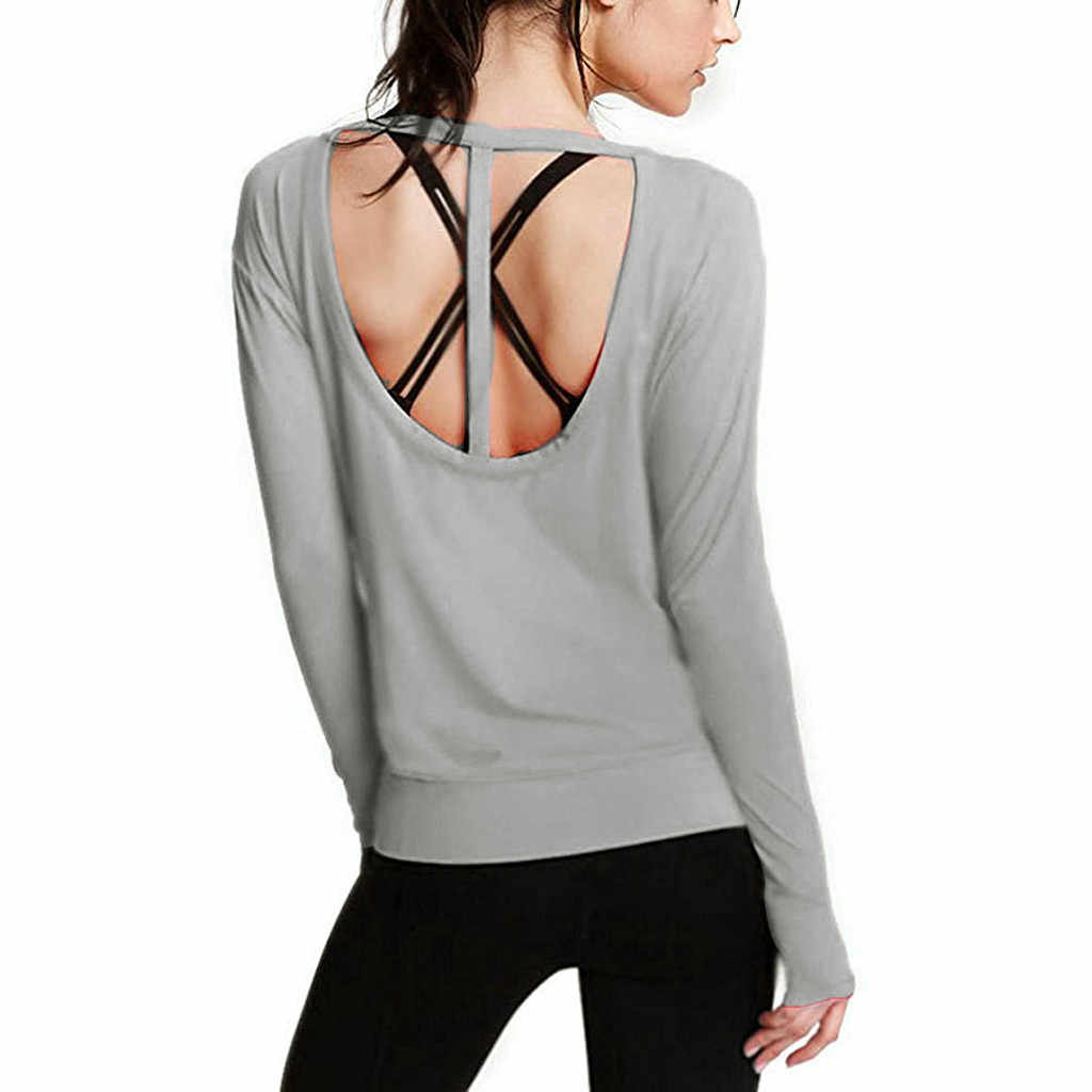 Vrouwen Backless open back Running Gym Stretchy Top Effen Kleur Lange Mouw Blouse Vrouw Blusas Lente Herfst Blouse