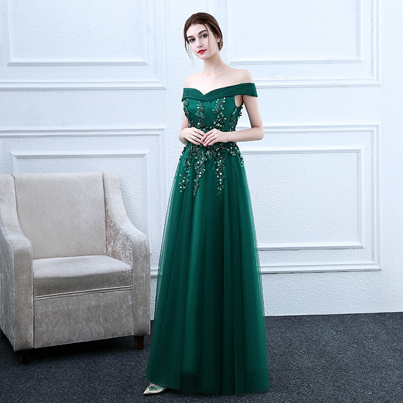 SSYFashion New The Bride Banquet Elegant Evening Dress Dark Green Lace  Appliques Floor length Party Formal Gown Robe De Soiree-in Evening Dresses  from ... ac7e271fafbc