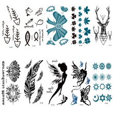 HC201-224 Multi Color Body Art Black Little Genius Shoulder Finger Water Transfer Temporary Fast Flash Fake Tattoos Sticker Taty