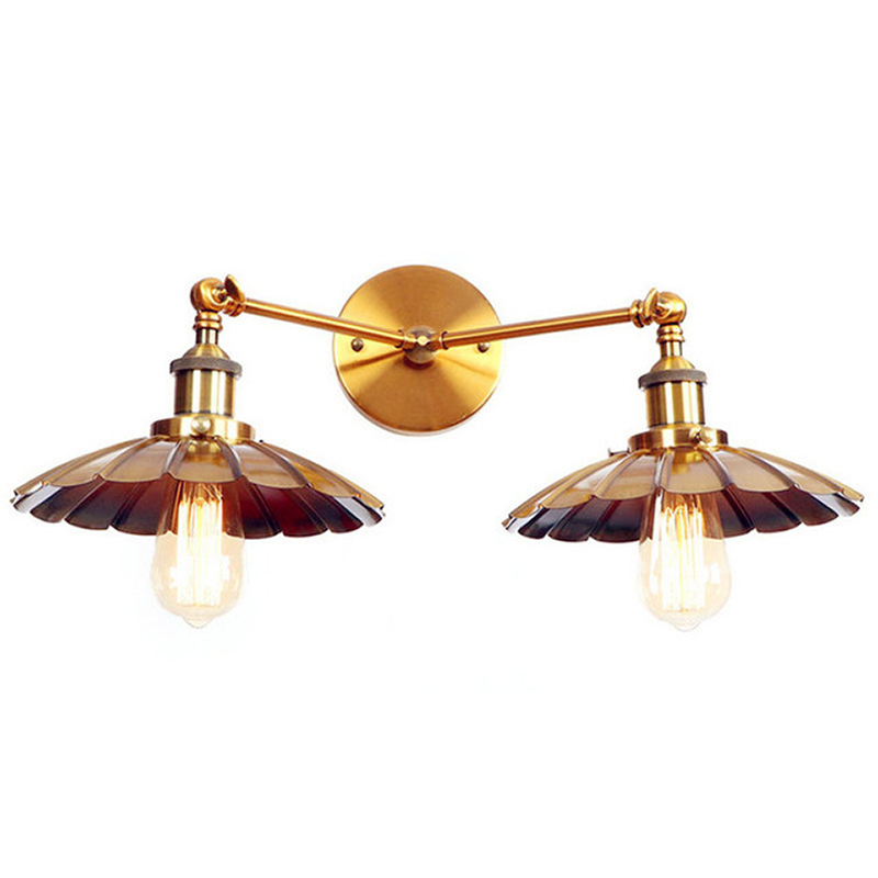 Antique Golden Vintage Wall Lamp 2 Heads Edison LED Stair Light American Loft Industrial Wall Lights Fixtures Arandela 4pcs sclcr06 tool holder boring bar 10pcs inserts with t8 wrench for lathe turning tools