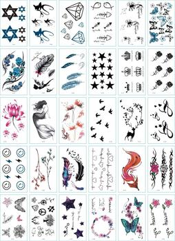 30Pcs/Set No Repeat Temporary Tattoo Stickers Waterproof Tattoos For Women Sexy Arm Clavicle Body Art Hand Foot for Girl Men 2