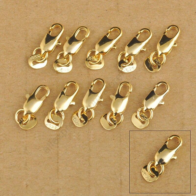 JEXXI 50 Pcs Descobertas Jóias de Ouro Amarelo Cheio Conector de Ligação de  Jóias Fecho Da Lagosta Para Colar Pulseira Tag Carimbada d402c0a487