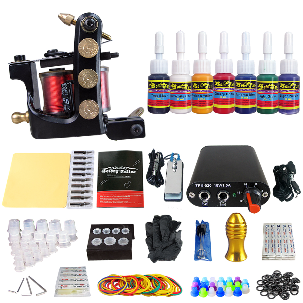 Hybrid Complete Tattoo Coil Machine Kit For Liner Shader Power Supply Foot Pedal Needles Grip Tips Tattoo Body&Art TK105-52Hybrid Complete Tattoo Coil Machine Kit For Liner Shader Power Supply Foot Pedal Needles Grip Tips Tattoo Body&Art TK105-52