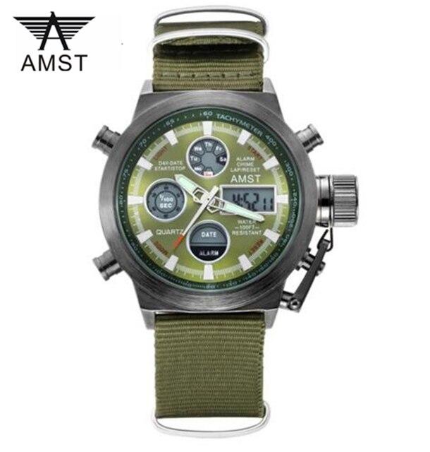 Прямые Продажи AMST Мужчины Часы Мода Повседневная Кварцевые часы Цифровой Дисплей Спорт Противоударный Водонепроницаемый Relogio Masculino Часы