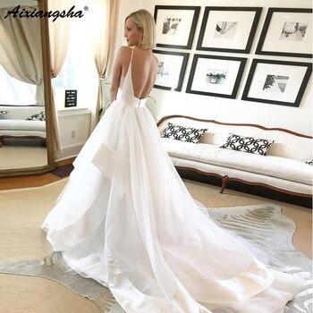 New Design Spaghetti Strap V Neck Wedding Dresses Vestido de noiva Backless Layered Organza Customize Bridal Dress 2019