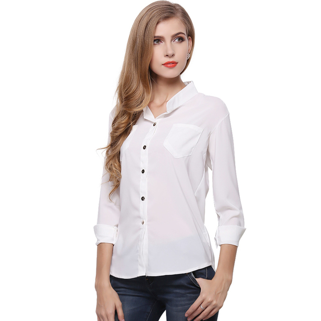 blusa Womens Chiffon Blouse Ladies Candy Color Elegant Stand Neck Blouses  Long Sleeve Chiffon Shirt Women 084853282b94