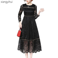 Sexy Fashion Hollow Out Lace Dress Metal Ring Design Elegant Knee Length Bodycon Vestido 2018 Autumn Winter Long Sleeve Clothes
