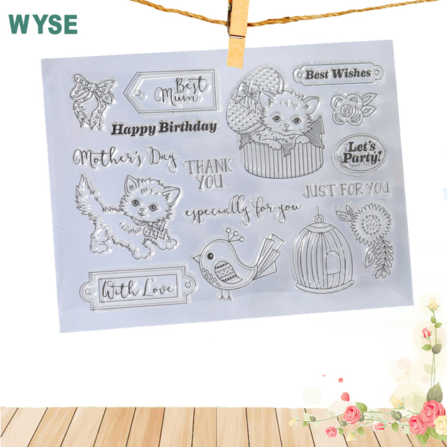 cute cat clear stamps best wish clear transparent silicone stamp