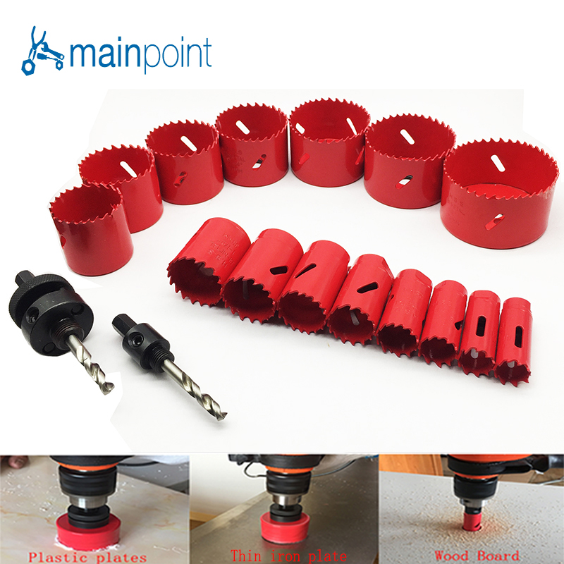 Mainpoint HSS Bi-Metal Hole Saw Kit With The Drill PowerTool Accessorie 19-76mm For Metal working Cutting Metal Steel Hand Tools new 50mm wall hole saw drill bit set 200mm connecting rod with wrench mayitr for concrete cement stone