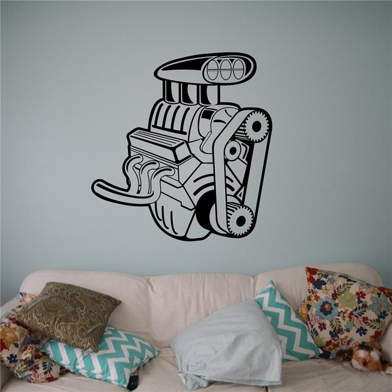 Auto Machine Wall Sticker Engine Motor Vinyl Sticker Home Interior - Custom vinyl wall decals for garage