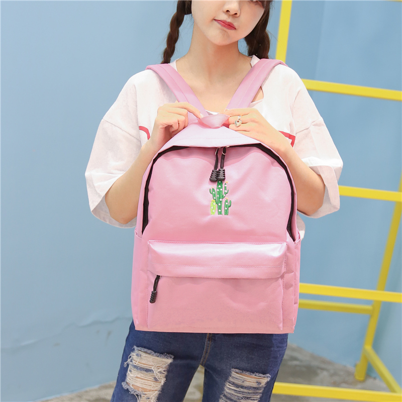New Cactus Embroidery Simple Canvas Backpack Students School Women Girl Rucksack Mochila Escolar Women Backpack (36)