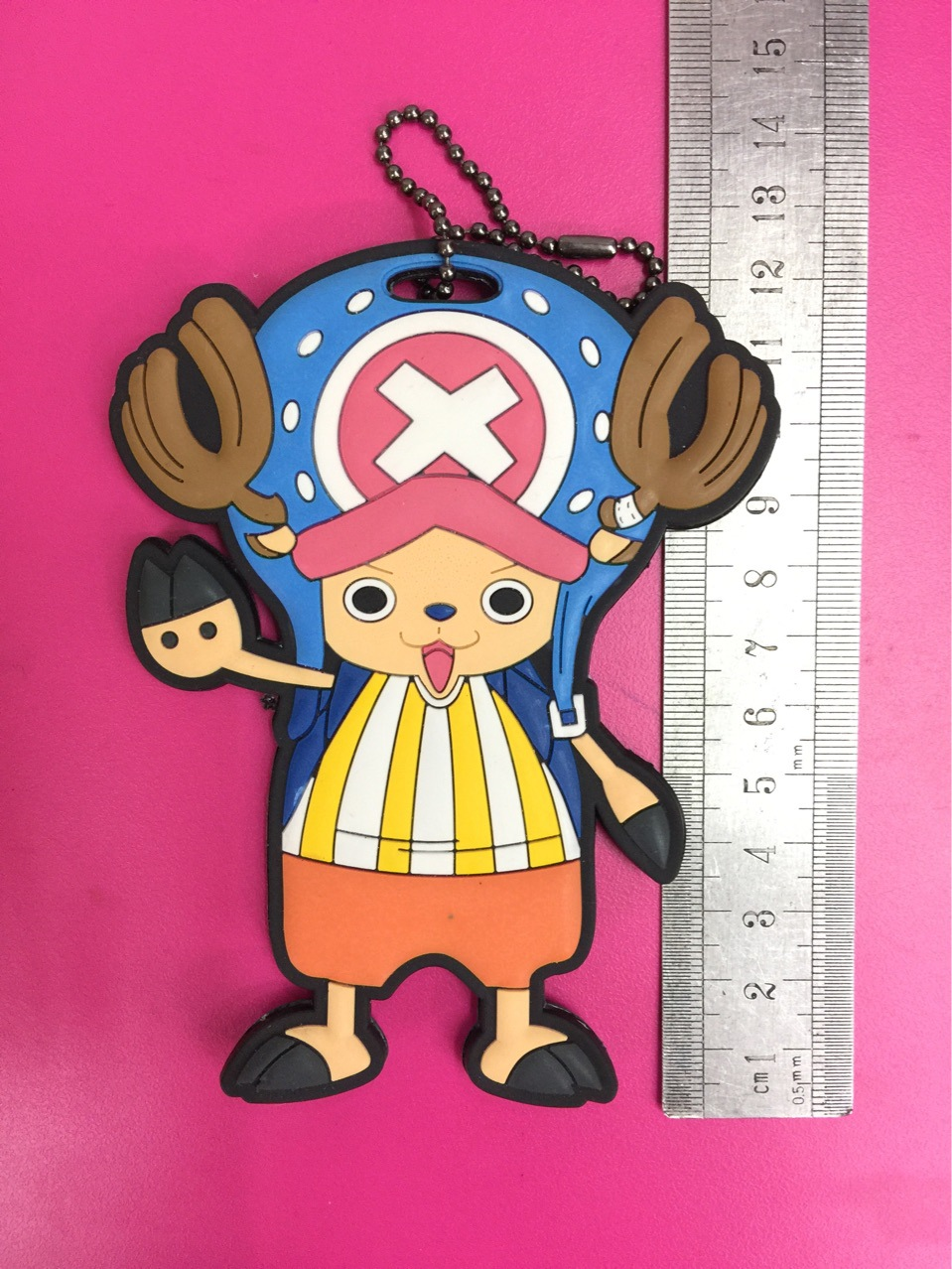 G613 One Piece Chopper large size Original Japanese anime figure rubber Silicone Luggage tag keychain strap